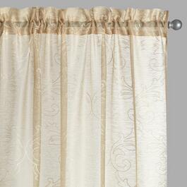 Damask Embroidered Linen-Like Window Curtains, Set of 2