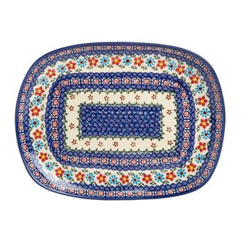 Polish Pottery Anita Floral Curved Rectangular Serving Platter view 2