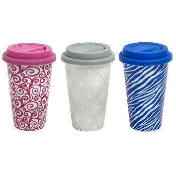 10-oz. Geo Double Wall Travel Mugs with Lids, Set of 3