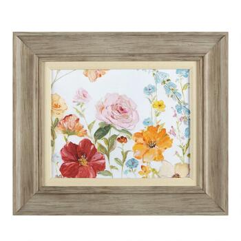 "19""x22"" Colorful Flowers Matted Linen Fillet Framed Wall Art"