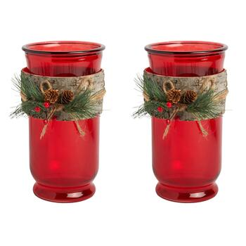 Jessie Birch Greenery Tealight Candle Holders, Set of 2