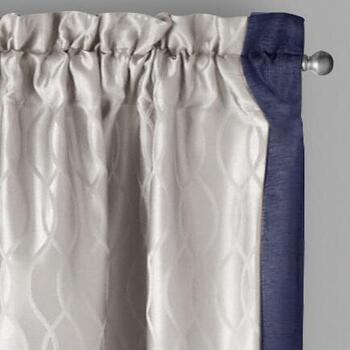 "84"" 2 Tone Jacquard Rod Pocket Window Curtains, Set of 2"