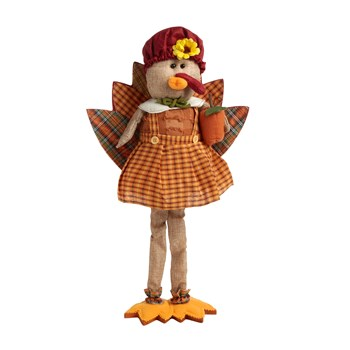 "21"" Plaid Standing Fabric Turkey Girl with Apple"