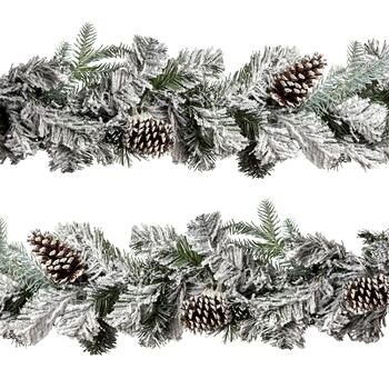 6' Frosted Pinecones Garland