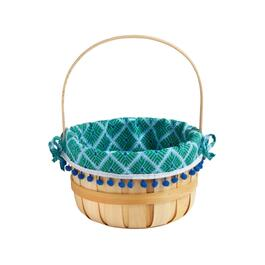 Woodchip Basket with Embellished Trim Patterned Lining