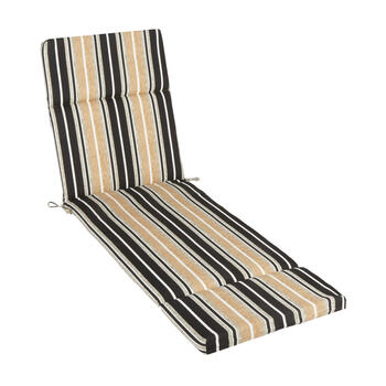 Beige/Black Stripe Indoor/Outdoor Hinged Chaise Chair Pad view 1