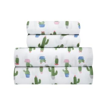 Green Cacti White Sheet Set