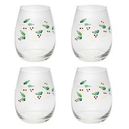 Painted Holly Stemless Wine Glasses, Set of 4