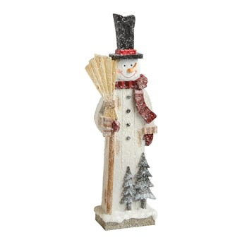 "17.5"" Standing Snowman with Broom Decor"
