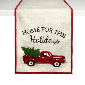 """Home For the Holidays"" Red Truck Table Runner"