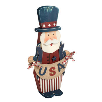 "26"" Standing Uncle Sam with ""USA"" Burlap Banner view 1"