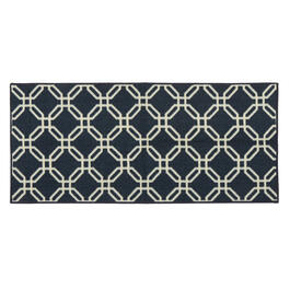 "Mohawk Home 20""x45"" Navy Geometric Lattice Accent Rug view 1"