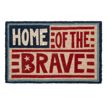 """Home of the Brave"" Coir Door Mat view 1"