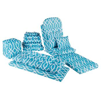Aqua Geometric Indoor/Outdoor Chair Pads  Collection