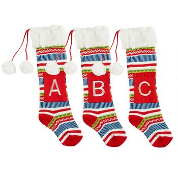 Fairisle Monogram Christmas Stocking with Faux Fur Cuff