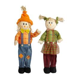 "24"" Green/Orange Standing Scarecrow Couple Set, 2-Piece"