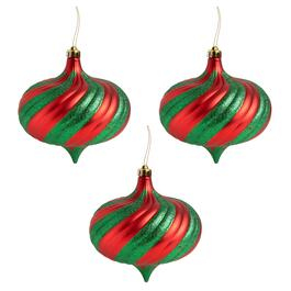 150mm Red/Green Stripe Scroll Ornaments, Set of 4