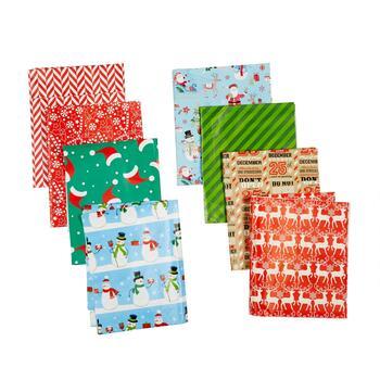 Snowman and Reindeer Folded Wrapping Paper, Set of 4