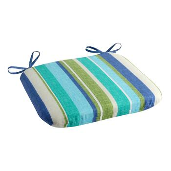 Green/Blue Striped Indoor/Outdoor Squared Seat Pad