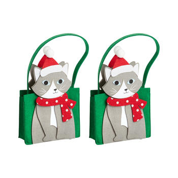 Holiday Cat Felt Tote Bags, Set of 2 view 1