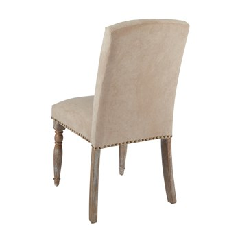 "37"" Spindle Leg Tufted Upholstery Parson's Chair with Nailheads view 2"