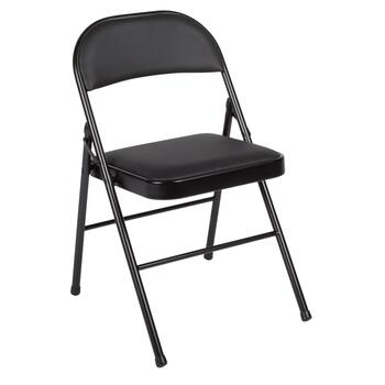 Black Padded Folding Chrome Metal Chair