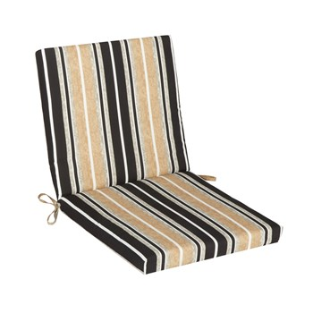 Beige/Black Stripe Indoor/Outdoor Mid-Back Chair Pad view 1