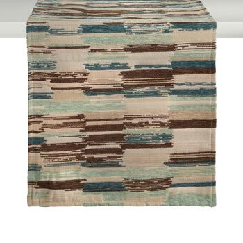 Tan/Aqua Bands Chenille Table Runner