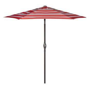 7.5' Red/Tan Striped Crank/Tilt Market Patio Umbrella