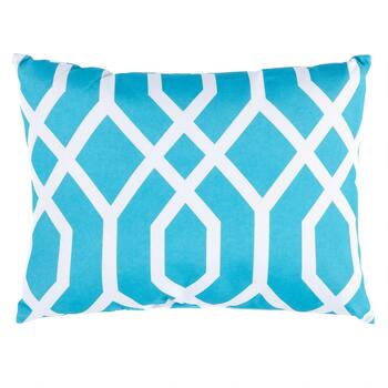 Aqua Geometric Indoor/Outdoor Oblong Throw Pillow