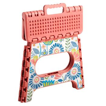 Pink Flowers Folding Step Stool view 2