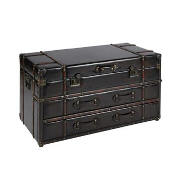 "20""x41.25"" Coffee Faux Leather Storage Chest"