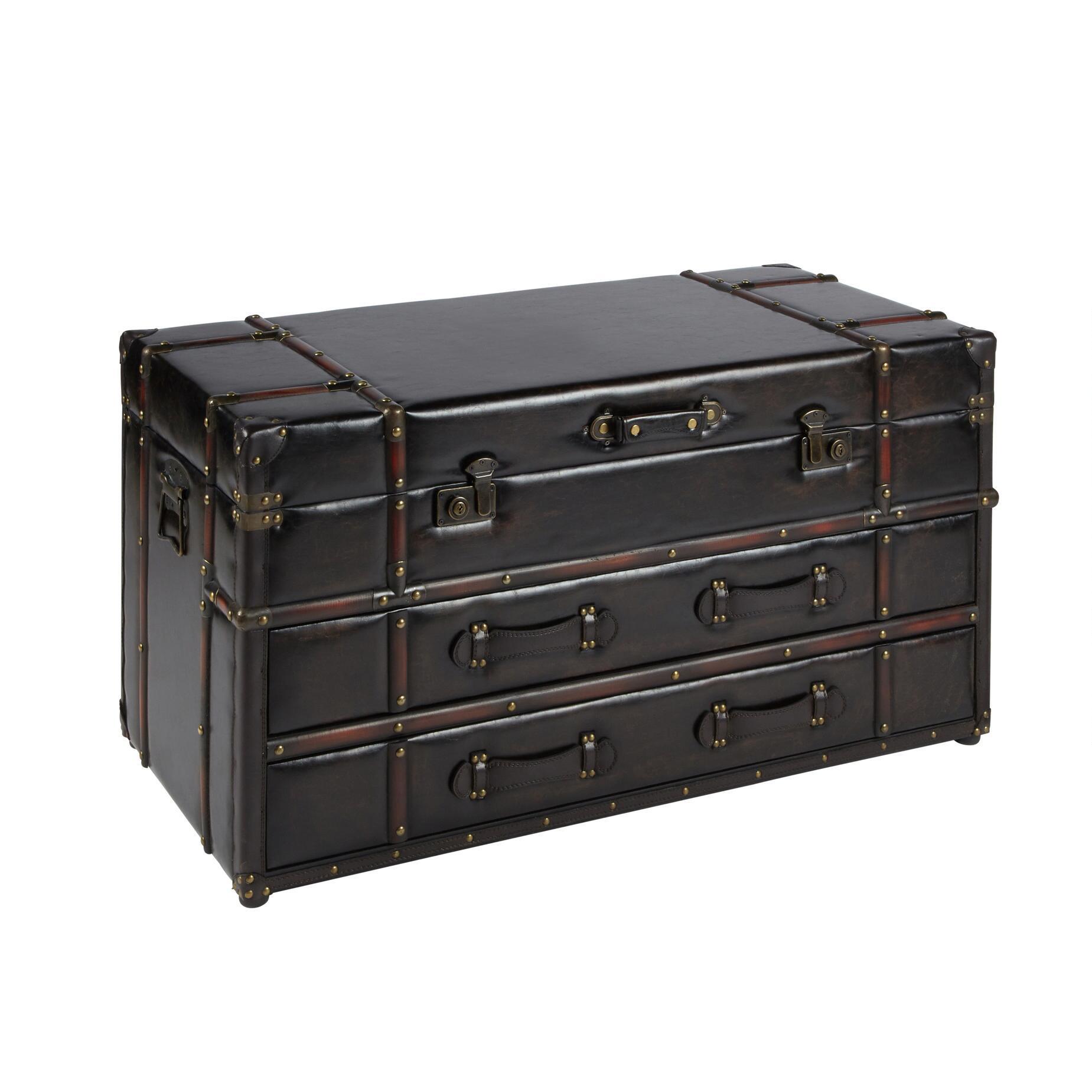 20u0026quot;x41.25u0026quot; Coffee Faux Leather Storage Chest