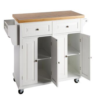 4-Door/2-Drawer Bamboo Top Rolling Kitchen Island view 2