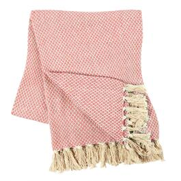 Dotted Cotton-Blend Throw with Fringe