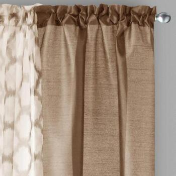 "84"" Faux Silk/Sheer Geo Print Window Curtain Set, 3-Piece"