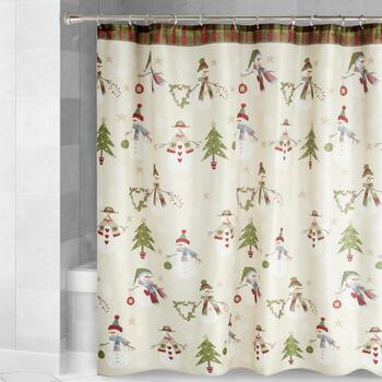 Snowmen and Trees Fabric Shower Curtain