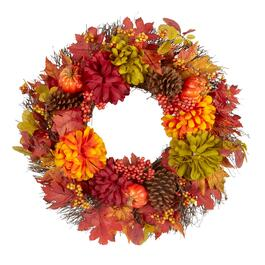 "21"" Red/Green Chrysanthemum Pumpkin Wreath"
