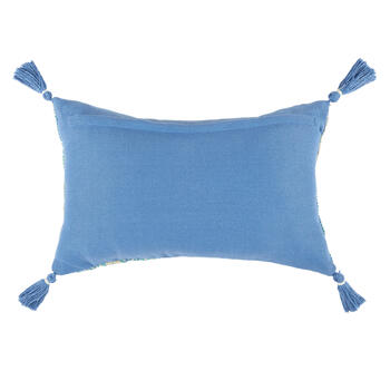Aqua/Periwinkle Woven Indoor/Outdoor Throw Pillow with Tassels view 2