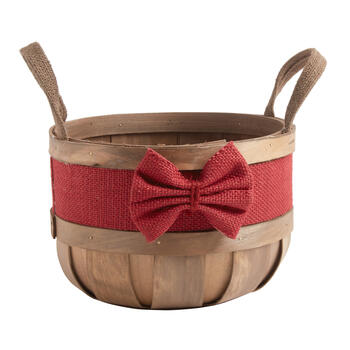 Bushel Basket with Red Burlap Bow view 1