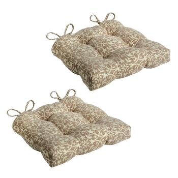 Tan Trellis Seat Pads, Set of 2