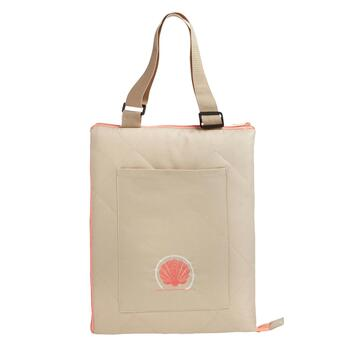 Tan/Coral Seashell Foldable Outdoor Blanket Tote view 2