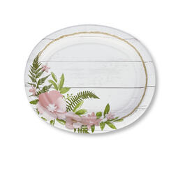 Fresh Blush Floral Oval Paper Plates 20-Count view 1