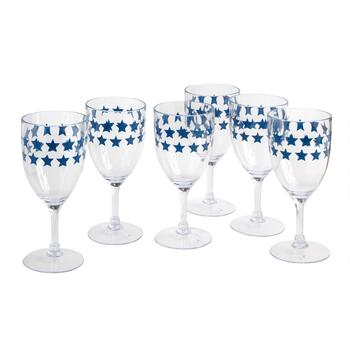 USA Blue Star Acrylic Wine Glasses, Set of 6