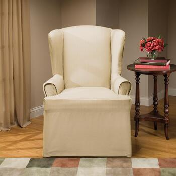 Side Ties Solid Wing Chair Slipcover