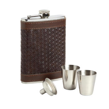 Brown Faux Leather Flask Set view 1