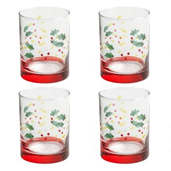 Holly Berry Red Base DOF Glasses, Set of 4