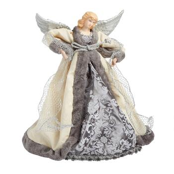 "14"" Gray Damask Gown Angel Tree Topper"