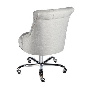 Gray Tufted Upholstery Rolling Office Chair with Nailheads view 2