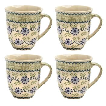Polish Pottery Floral Basket Jumbo Mugs, Set of 4
